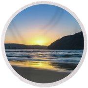 Hazy Sunrise Seascape Round Beach Towel