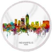 Indianapolis Indiana Skyline Round Beach Towel