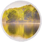 Round Beach Towel featuring the photograph Julian Price Lake, Along The Blue Ridge Parkway In North Carolin by Alex Grichenko