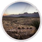 Round Beach Towel featuring the photograph Red Rock Canyon Las Vegas Nevada At Sunset by Alex Grichenko