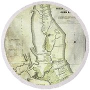 1848 California Gold Country Map Round Beach Towel