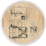 1883 Schmid Photographic Camera Antique Paper Patent Print Round Beach Towel