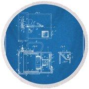 1883 Schmid Photographic Camera Blueprint Patent Print Round Beach Towel