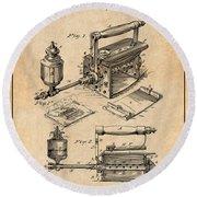 1888 Antique Sad Iron Patent Print Antique Paper Round Beach Towel