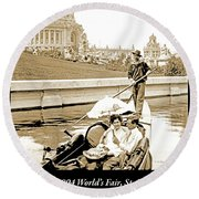 1904 Worlds Fair, Sighteeing Boat, Oarsman And Couple Round Beach Towel