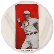 1911 E94 Close Candy  Old  Cy Young  Red Round Beach Towel
