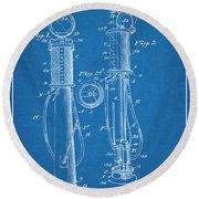 1930 J J Tokheim Gasoline Pump Blueprint Patent Print  Round Beach Towel