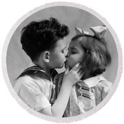 1930s Two Children Young Boy And Girl Round Beach Towel