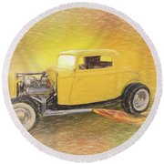 1932 Ford Coupe Yellow Round Beach Towel