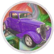 1934 Ford Colored Pencil Round Beach Towel