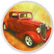 1934 Ford On Fire Round Beach Towel