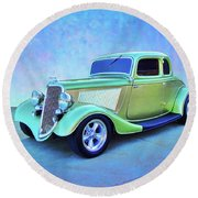 1934 Green Ford Round Beach Towel
