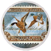Round Beach Towel featuring the mixed media 1934 Hunting Stamp Collage by Clint Hansen