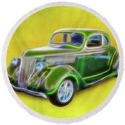 1936 Green Ford Round Beach Towel