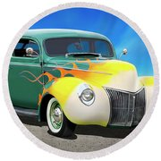 1940 Ford Coupe Round Beach Towel