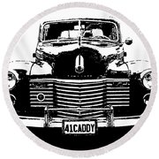 1941 Cadillac Front Blk Round Beach Towel