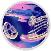 1948 Chevy Fleetline On The Down Low Blue Round Beach Towel