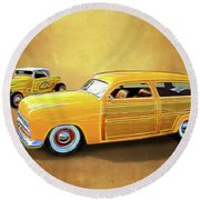 1949 Woody And 1932 Roadster Round Beach Towel