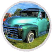 1950 Chevy Pickup Lowrider Bomb Round Beach Towel