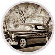 Round Beach Towel featuring the photograph 1950 Oldsmobile 88 -004bwcl by Jill Reger