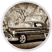 Round Beach Towel featuring the photograph 1950 Oldsmobile 88 -004s by Jill Reger