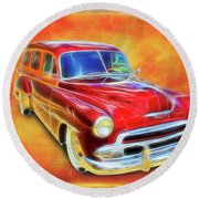 1951 Chevy Woody Round Beach Towel