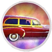 1951 Chevy Woody Sideview Round Beach Towel