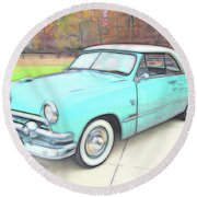 1951 Ford Round Beach Towel
