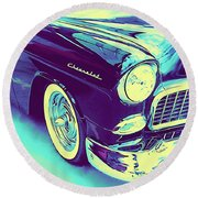 1955 Chevy Custom Front Blue Round Beach Towel