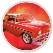 1956 Chevy Nomad Round Beach Towel