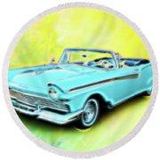 1957 Ford Fairlane Convertable Round Beach Towel