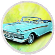 1957 Ford Fairlane Convertable Round Beach Towel