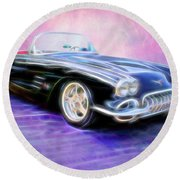 1958 Chevrolet Corvette Round Beach Towel