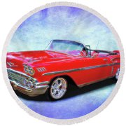 1958 Red Chevy Convertable Round Beach Towel