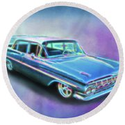 1959 Chevy Wagon Round Beach Towel