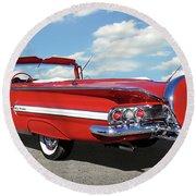 1960 Chevy Impala Convertible  Round Beach Towel