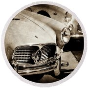 Round Beach Towel featuring the photograph 1960 Maserati Grille Emblem-1098scl3 by Jill Reger