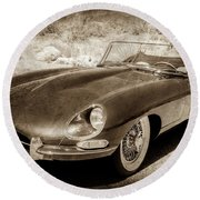 Round Beach Towel featuring the photograph 1963 Jaguar Xke Roadster-111s by Jill Reger