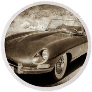 Round Beach Towel featuring the photograph 1963 Jaguar Xke Roadster-111scl by Jill Reger