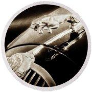 Round Beach Towel featuring the photograph 1964 Jaguar Mk2 Saloon Hood Ornament And Emblem-1421bscl by Jill Reger