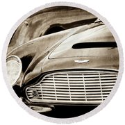 Round Beach Towel featuring the photograph 1965 Aston Martin Db6 Short Chassis Volante Grille-0970s2 by Jill Reger