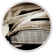 Round Beach Towel featuring the photograph 1965 Aston Martin Db6 Short Chassis Volante Grille-0970scl by Jill Reger