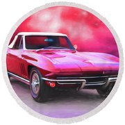 1965 Red Vette Round Beach Towel