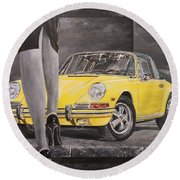 1968 Porsche 911 Targa Round Beach Towel