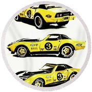 1969 Chevrolet Copo Corvette Round Beach Towel