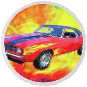1969 Flaming Z Round Beach Towel