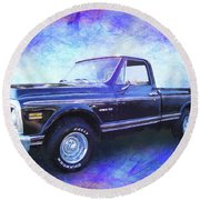1970 Chevy C10 Pickup Truck Round Beach Towel