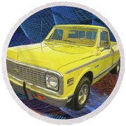 1972 Chevy Pickup Truck Round Beach Towel