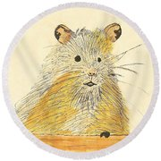 1979 Hamster Sketch Round Beach Towel