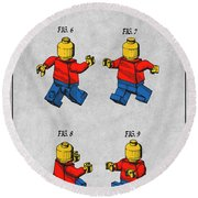 1979 Lego Toy Mini Figures Color Patent Print Gray Round Beach Towel